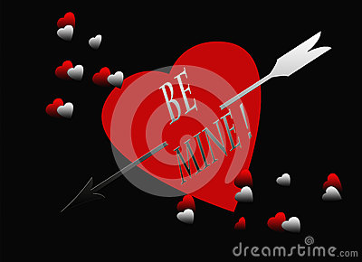 Red Black Heart Silver Arrow Be Mine Card