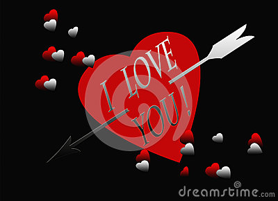 Red Black Heart Silver Arrow I Love You Card