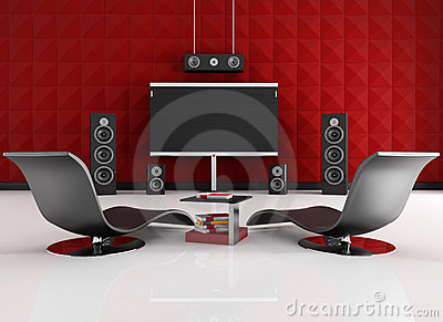 Red and black home cinema