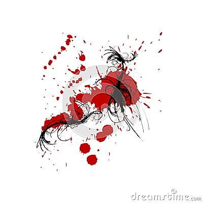 Red black ink swirls splats background