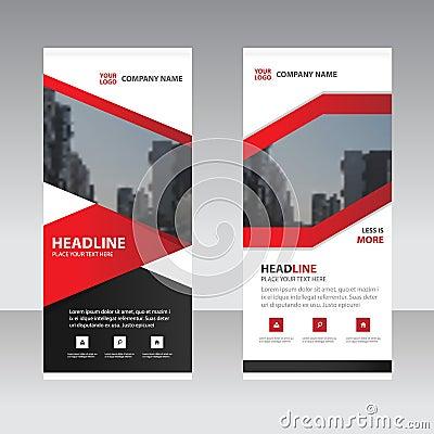 Red black label Business Roll Up Banner flat design template Vector Illustration