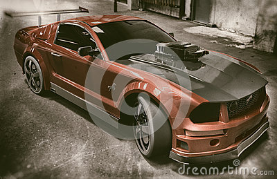Red And Black Mustang Sports Car