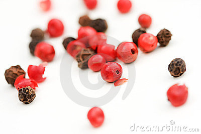 Red an black peppercorns