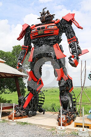 Red And Black Robot Statue Free Public Domain Cc0 Image