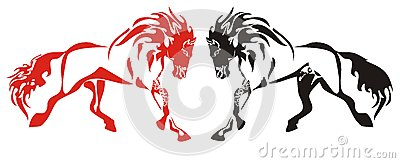 Red and black running horses on the white