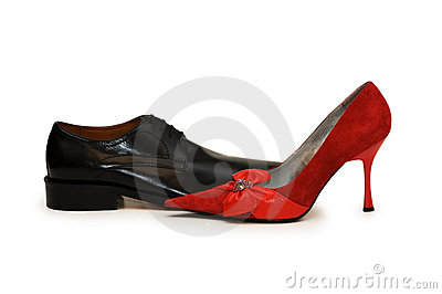 Red and black shoes isolated