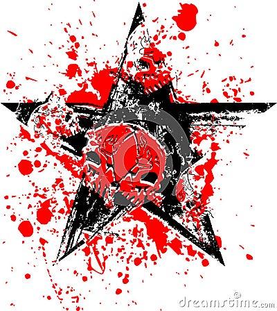 Red Black Star Skull