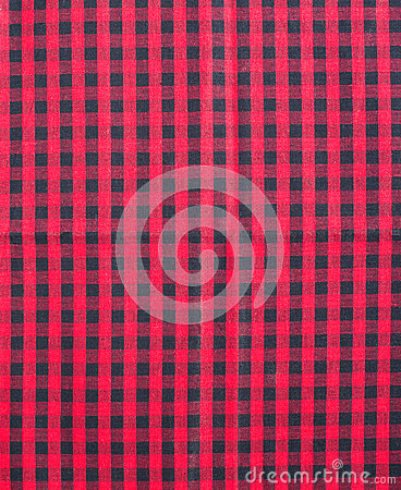 Red and black tablecloth.