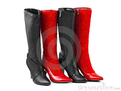 Red and black woman shoes