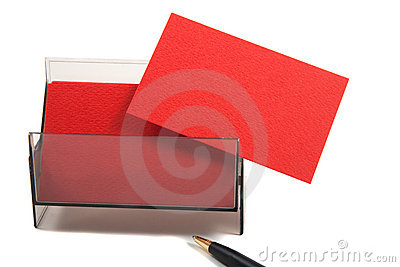 Red blank business card in a box