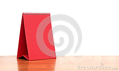 Red blank desktop calendar