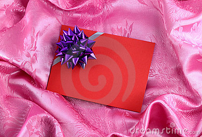 Red blank gift card with ribbon