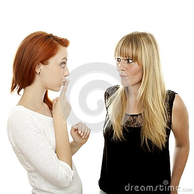 Red and blond haired girls finger mouth secret