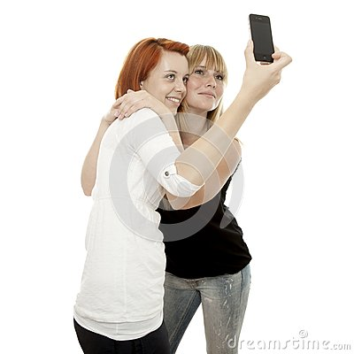 Red and blond haired girls self portrait phone