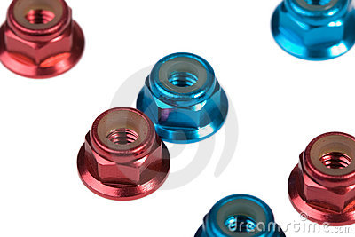 Red and blue aluminium nuts
