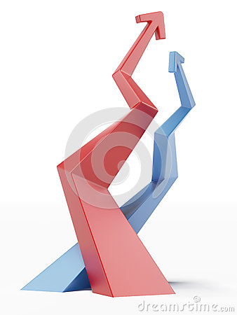Red and blue ascending arrows