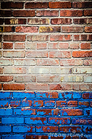 Red and blue brick wall texture