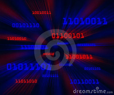 Red blue bytes of binary code flying in a vortex