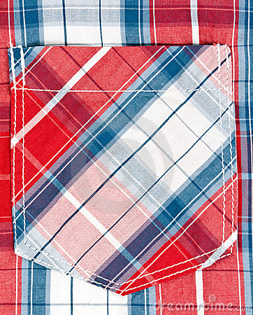 Red and blue checkered background pocket.