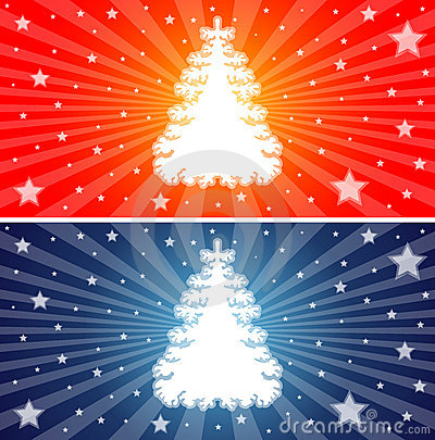 Red and Blue Christmas trees