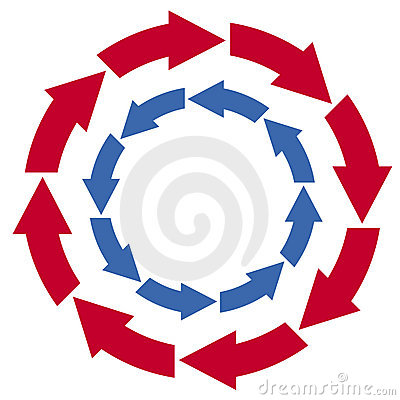 Red and blue circle arrows
