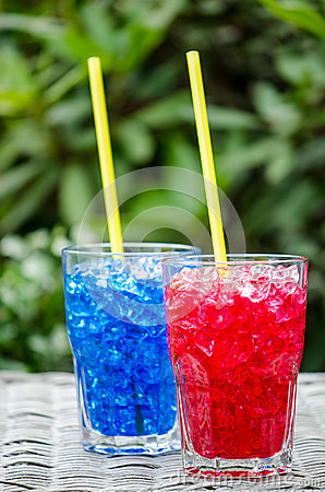 Red and blue cocktails