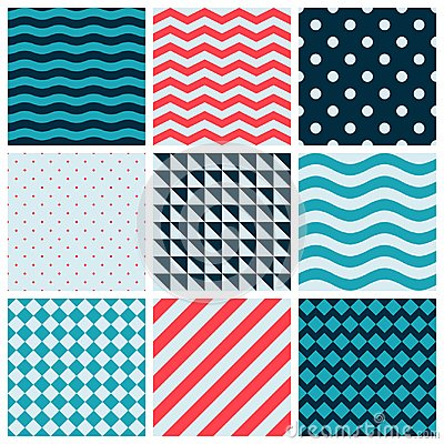 Free Red Blue Colorful Wave Vector Abstract Geometric Seamless Pattern Design Collection Decoration Web Royalty Free Stock Photography - 109908947