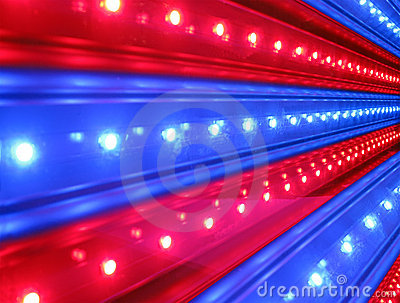 Red, blue disco lighting, power details,