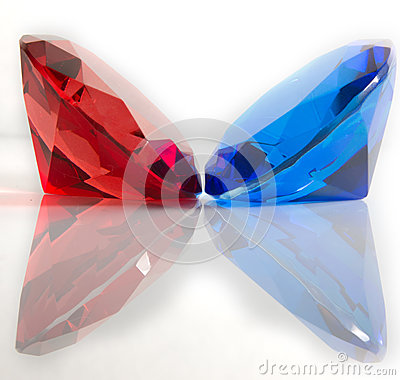 Red and Blue Faceted Gemstones