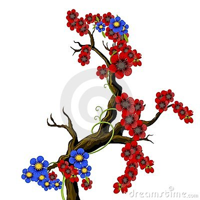 Red and blue flouwers on a branch