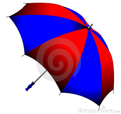 Red and blue, folding umbrella