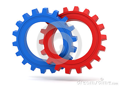 Red and blue gears icon