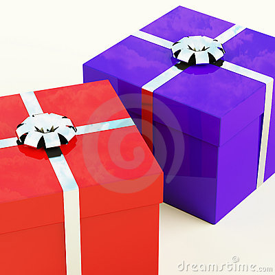Red And Blue Gift Boxes With Silver Ribbons