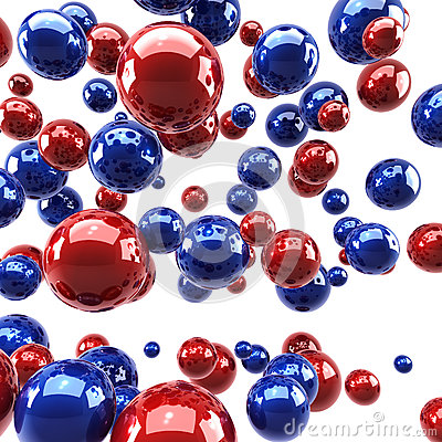 Red and blue glossy spheres