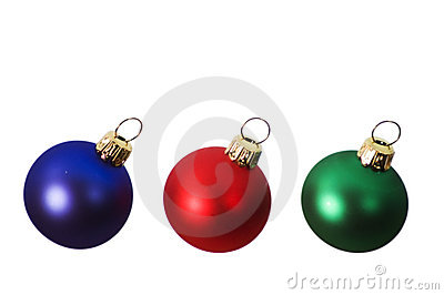 Red, Blue and Green Christmas Bulbs