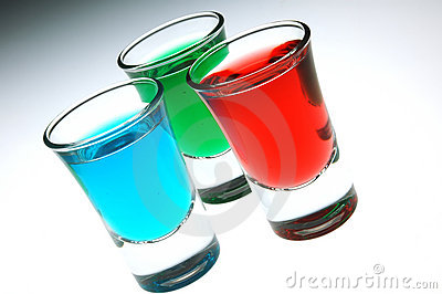 Red blue and green shot