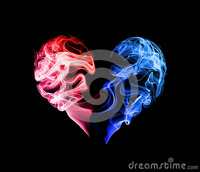 Red And Blue Heart Stock Photo - Image: 47673793