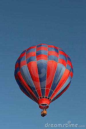 Red and blue hot air balloon