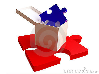 Red and Blue Jigsaw Puzzles with White Box