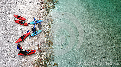 Red and blue kayaks