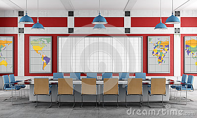 Red and blue Meeting room
