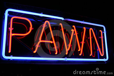 Red and Blue Neon Pawn Shop Sign