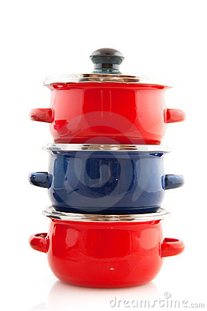 Red and blue pans
