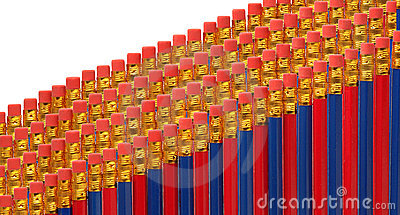 Red and blue pencils in rows