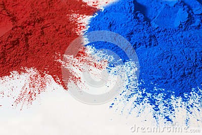 Red and blue powder