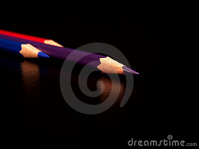 Red, blue, purple color pencil