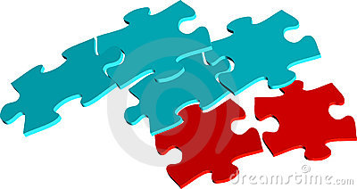 Red and blue puzzle pieces