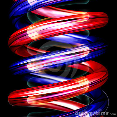 Red and blue spirals vertical on black