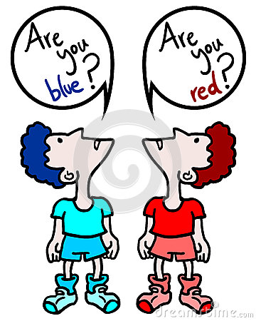 Red and blue think