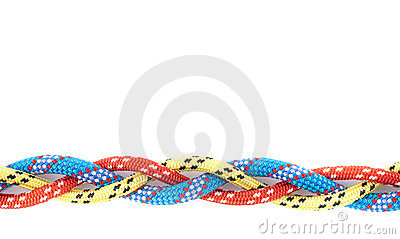 Red blue yellow rope braid